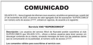 "Comunicado WILAEN S.R.L. - Servicio VAS ""SUPERCOMICS"""