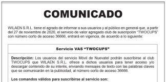 """Comunicado WILAEN S.R.L. - Servicio VAS """"TWOCUPS"""""""