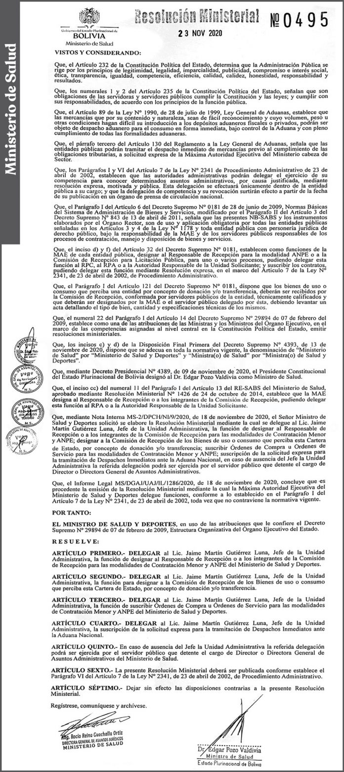 Ministerio de Salud - Resolución Ministerial Nº 0495