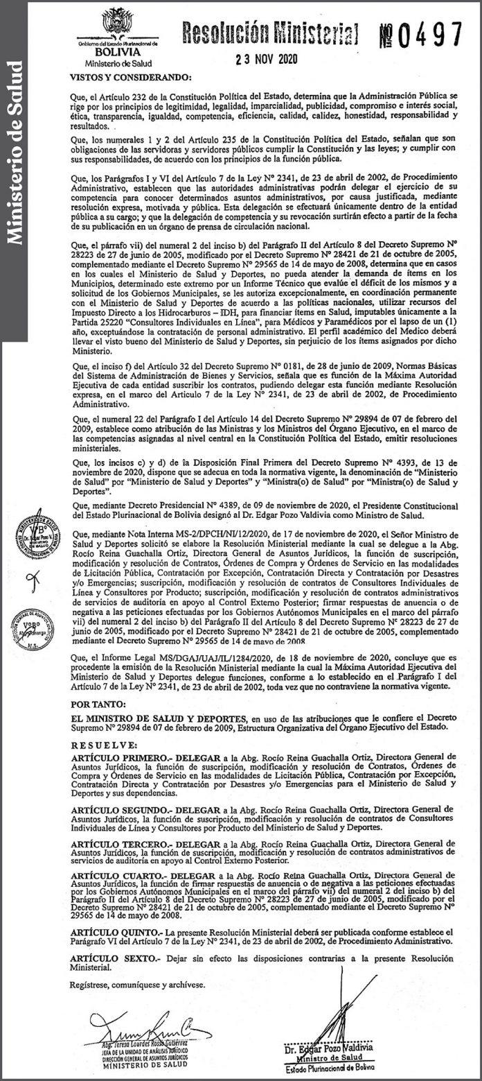 Ministerio de Salud – Resolución Ministerial Nº 0497