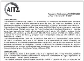 Resolución Administrativa AGIT/0041/2020