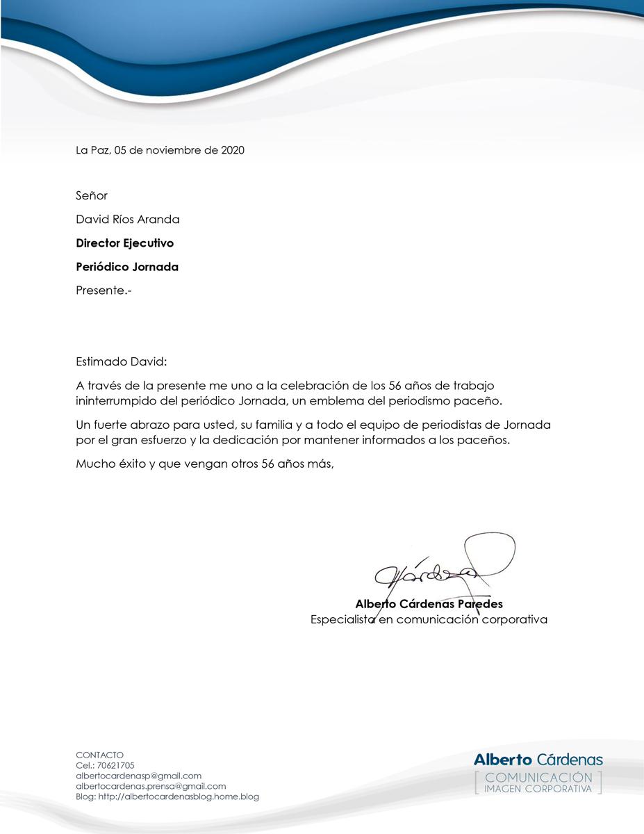 felicitacion Alberto Cardenas