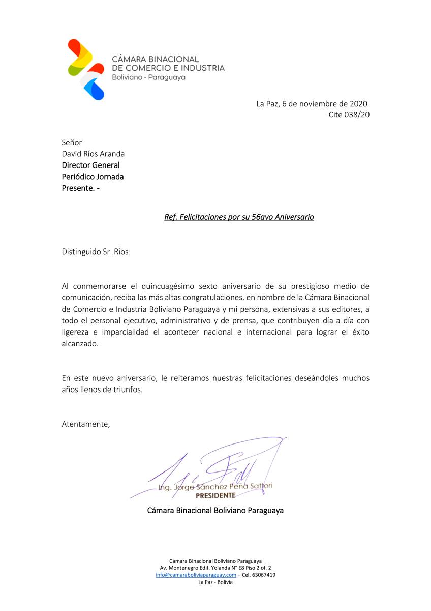felicitacion Camara Binacional Boliviano Paraguaya