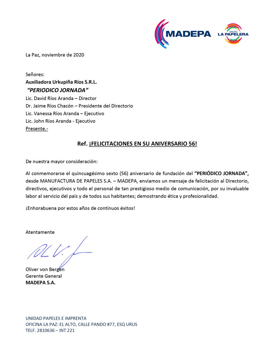 felicitacion MADEPA