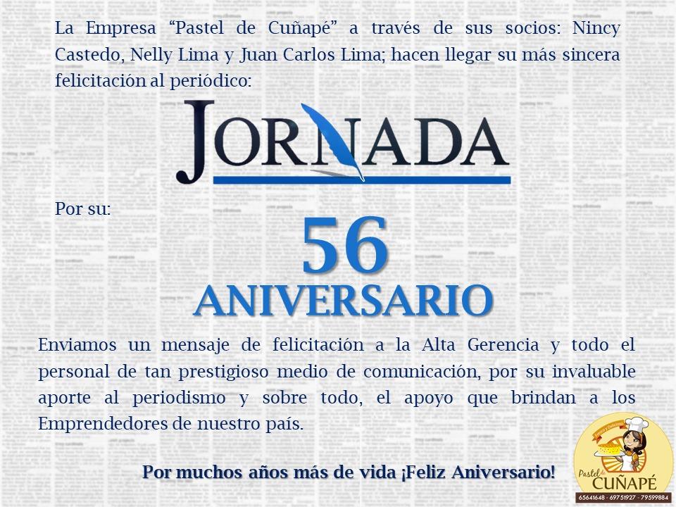 felicitacion Pastel de Cunape