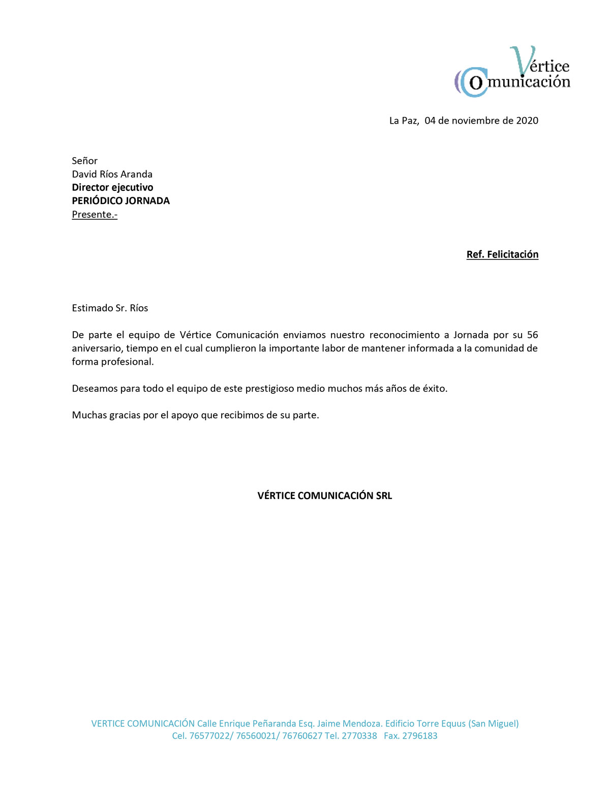 felicitacion Vertice Comunicacion