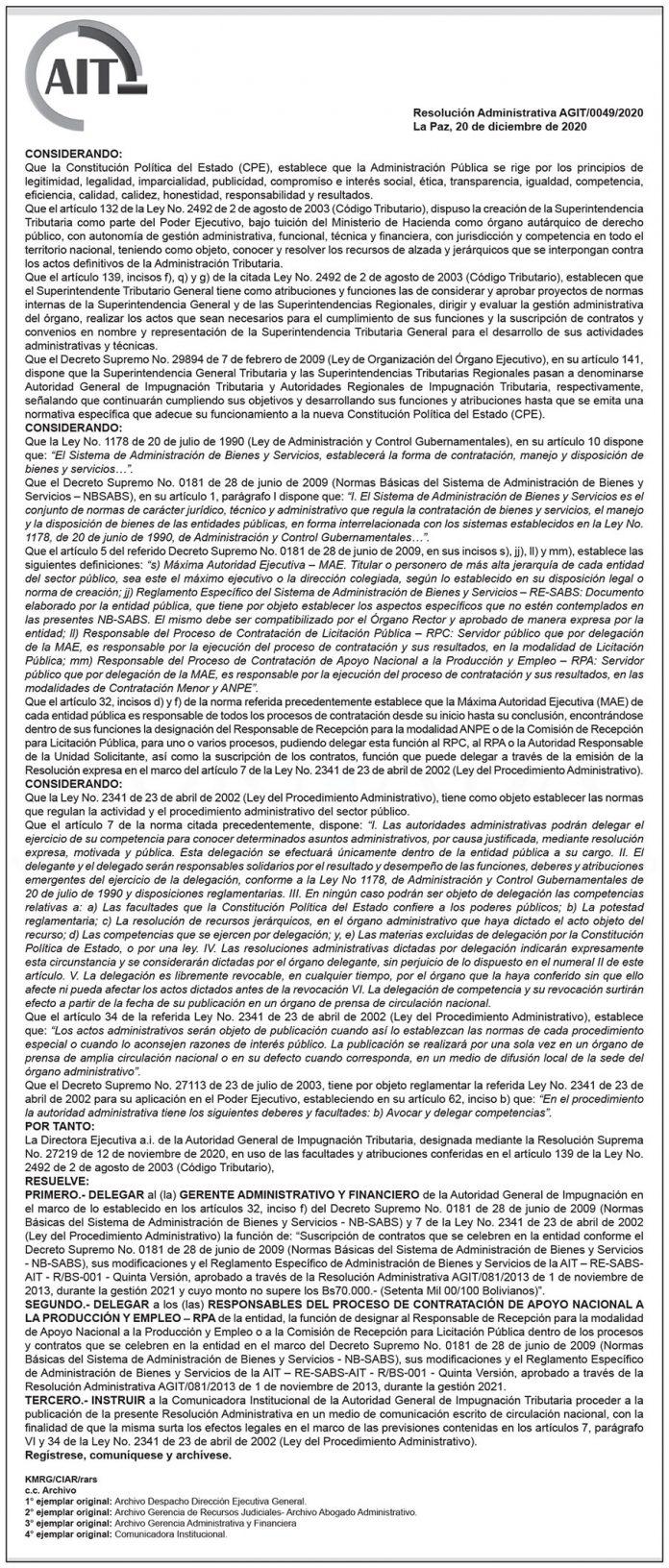 AIT - Resolución Administrativa AGIT/0049/2020
