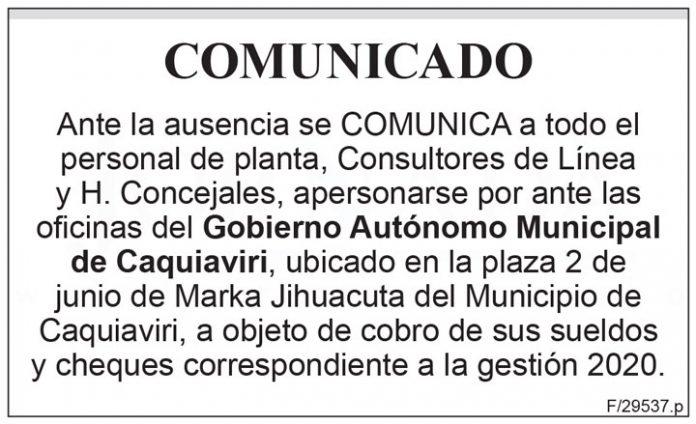 Comunicado Gobierno Autónomo Municipal de Caquiaviri