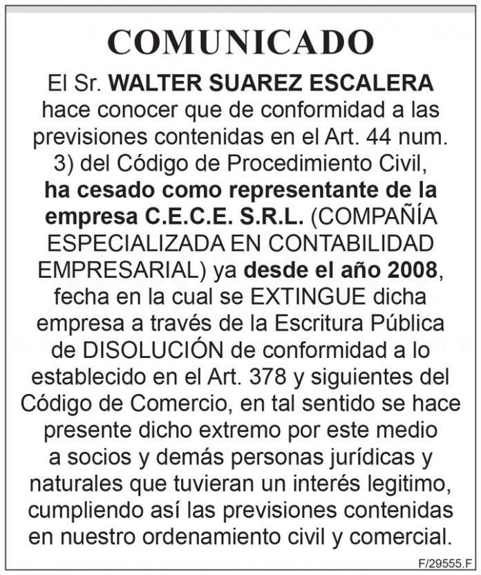 Comunicado Walter Suarez Escalera