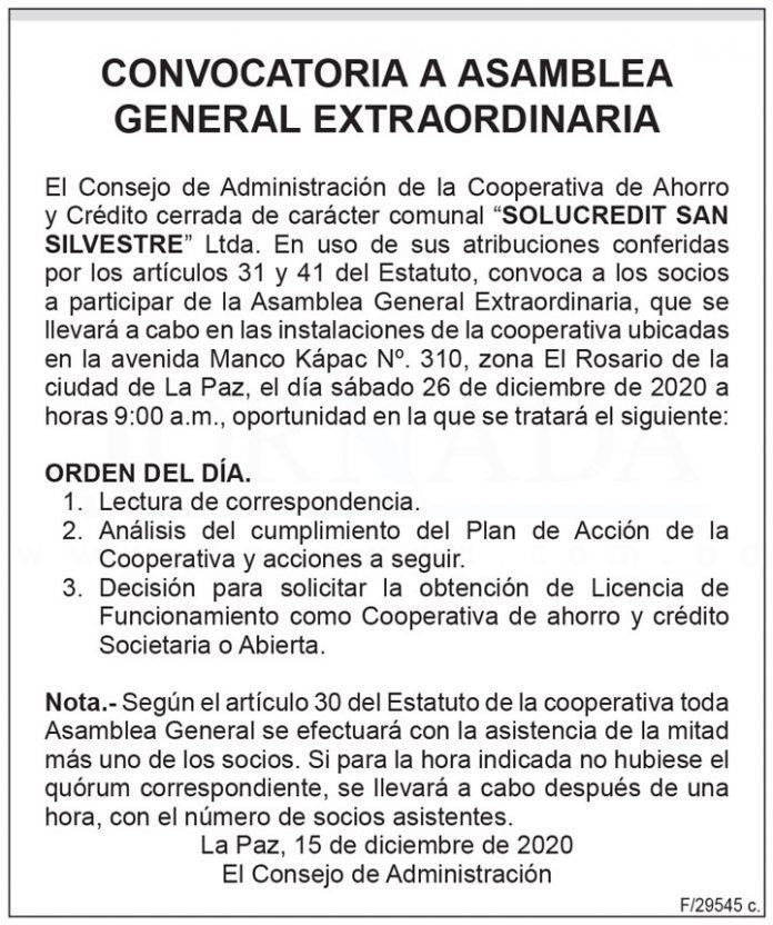Convocatoria a Asamblea General Extraordinaria - SOLUCREDIT San Silvestre