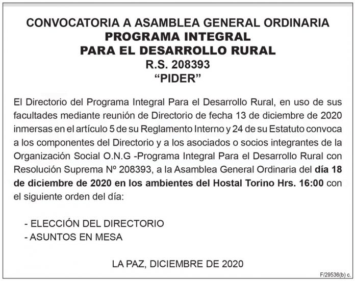 Convocatoria a Asamblea General Ordinaria - Programa Integral Para el Desarrollo Rural