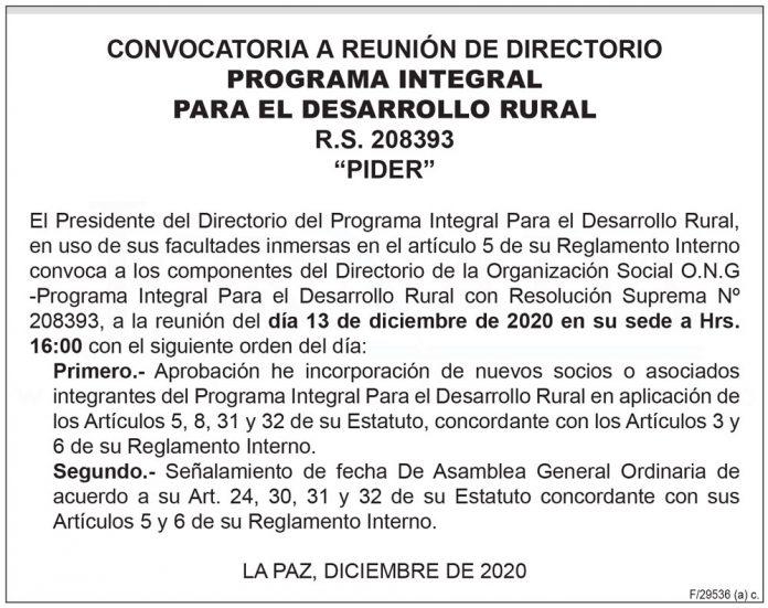 Convocatoria a Reunión de Directorio - Programa Integral Para el Desarrollo Rural