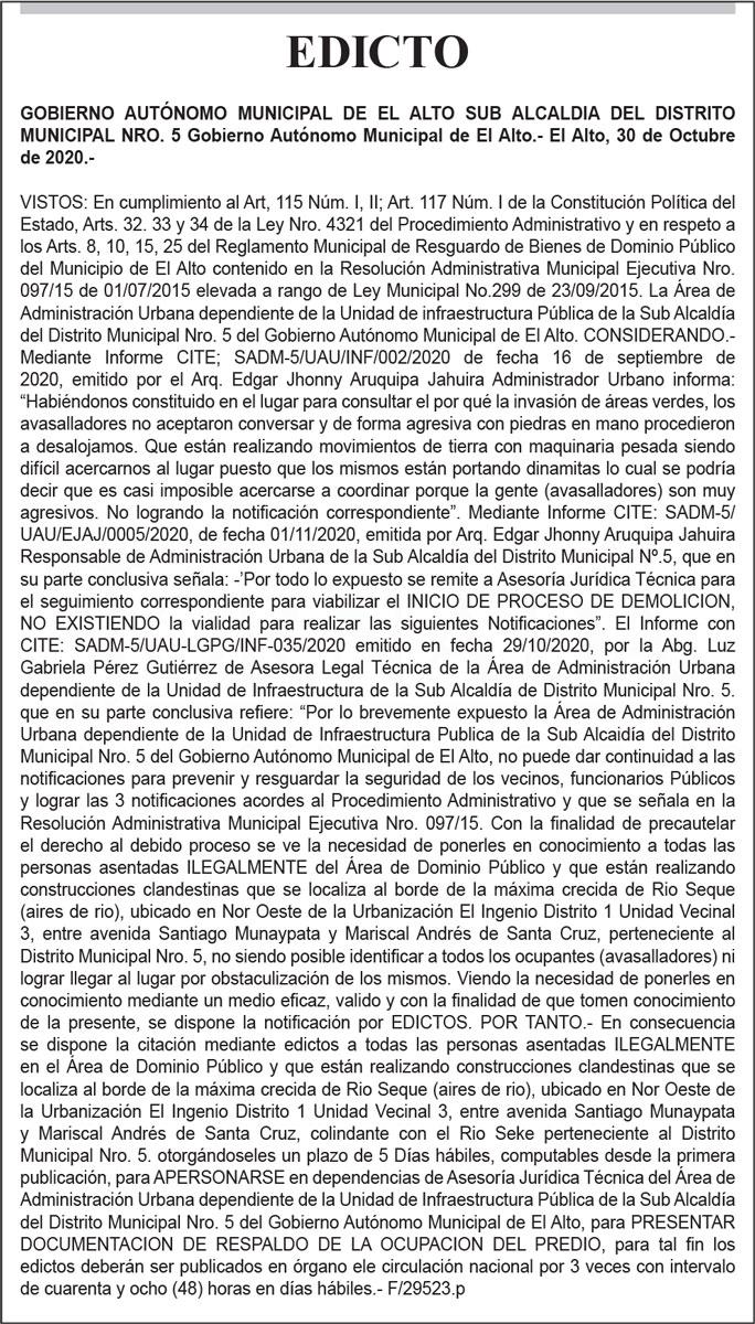 Edicto Gobierno Autónomo Municipal de El Alto
