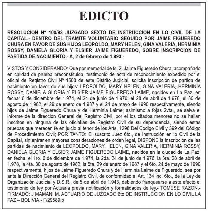 Edicto seguido por Jaime Figueredo Chura
