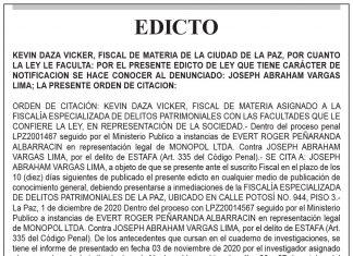 Edicto contra Joseph Abraham Vargas Lima