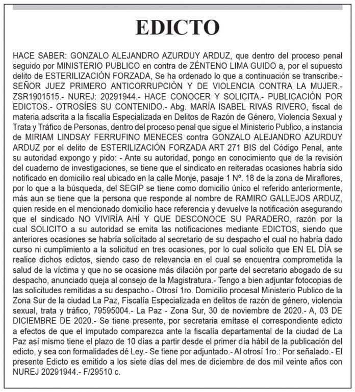 Edicto contra Zénteno Lima Guido