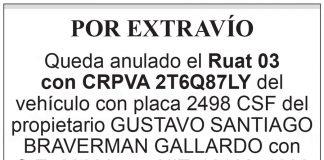 Extravío Ruat 03 con CRPVA 2T6Q87LY