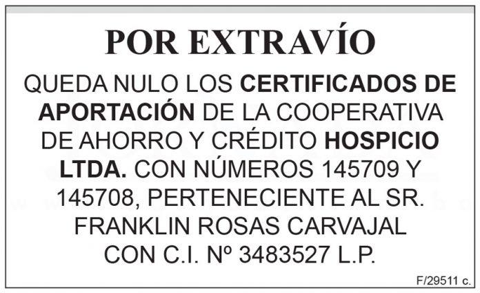 Extravío certificados de aportación Hospicio Ltda.