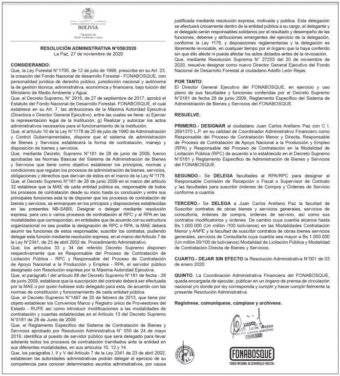 FONABOSQUE - Resolución Administrativa N° 058/2020