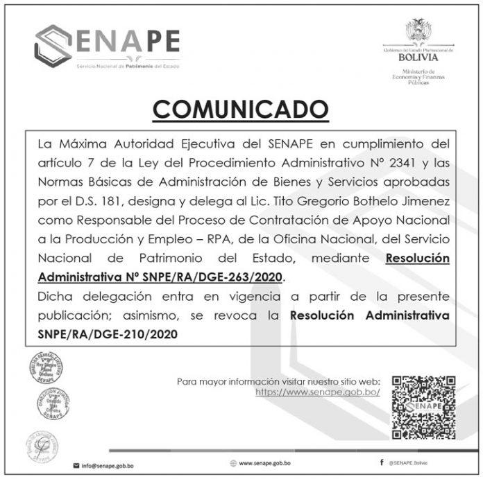 SENAPE - Comunicado