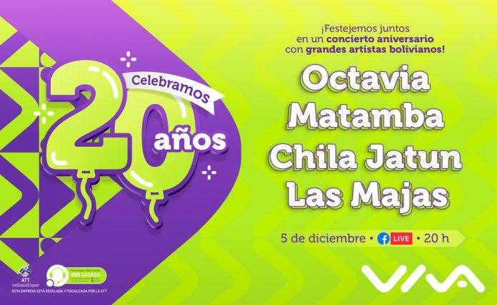 Viva celebra 20 anos como aliado digital de Bolivia con un concierto virtual