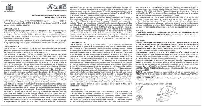 AISEM - Resolución Administrativa N° 006/2021