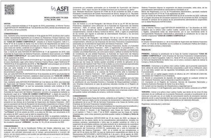 Casa de Cambio Compostela - Resolución ASFI/ 776 /2020