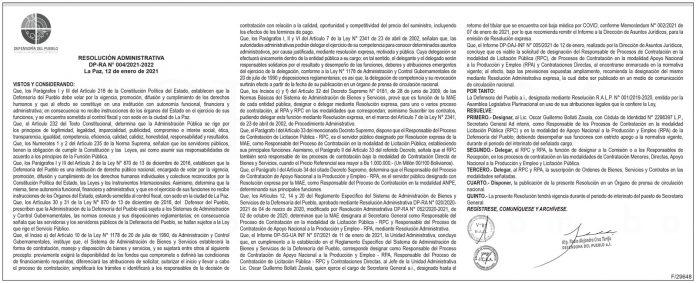 Defensoría del Pueblo - Resolución Administrativa DP-RA N° 004/2021-2022