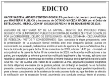 Edicto contra Andrés Zenteno Gonzales