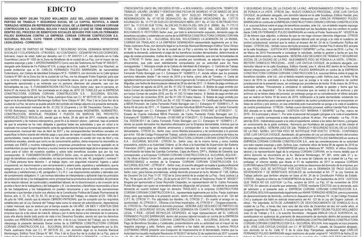 Edicto contra Corsán Corviam Construcción S.A. Sucursal Bolivia