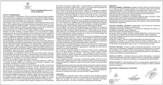 Ministerio de Desarrollo Rural y Tierras - Resolución Ministerial Nº 003