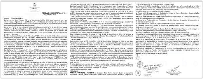 Ministerio de Desarrollo Rural y Tierras Resolucion Ministerial 004