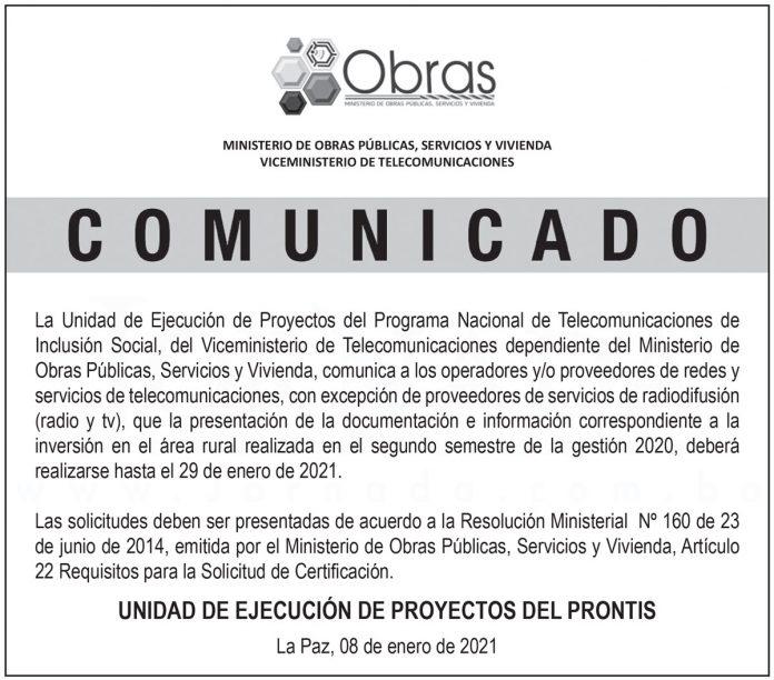 Ministerio de Obras Públicas, Servicios y Vivienda - Comunicado