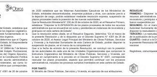 Ministerio de Obras Publicas, Servicios y Vivienda - Resolución Ministerial N° 012