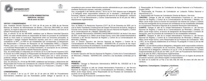 SENARECOM - Resolución Administrativa 002/2021