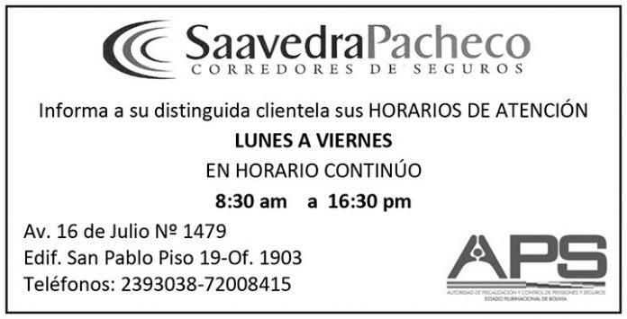 Saavedra Pacheco Corredores de Seguros - horario de atención
