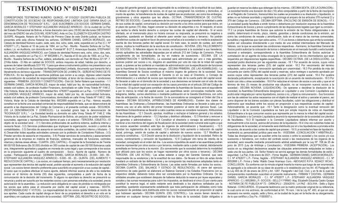 Testimonio Nº 015/2021 - ROCKAUDI S.R.L.