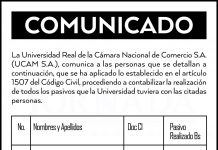 Universidad Real de la Cámara Nacional de Comercio S.A. - Comunicado