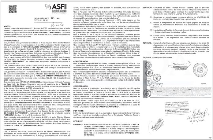Casa de Cambio Capricornio - Resolución ASFI/094/2021