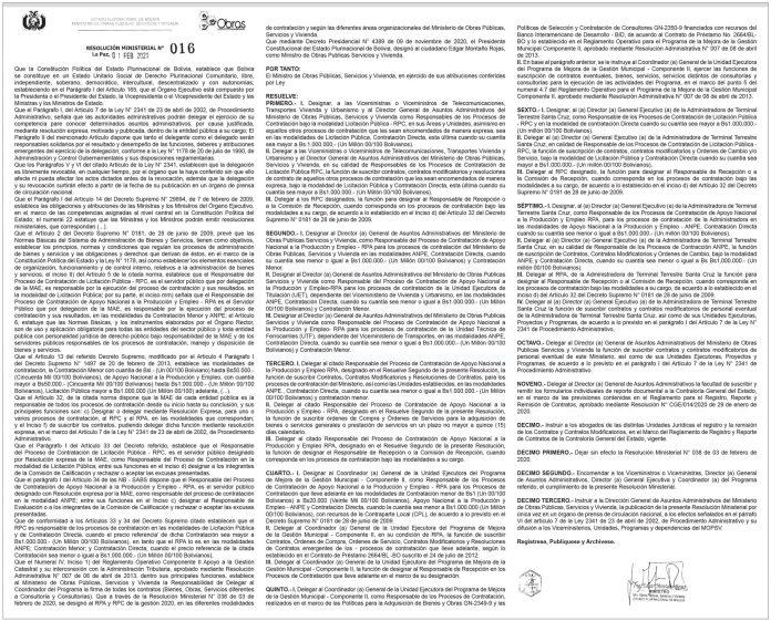 Ministerio de Obras Públicas, Servicios y Vivienda – Resolución Ministerial N° 016