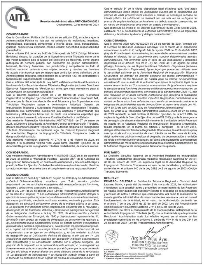 AIT - Resolución Administrativa ARIT-CBA/004/2021