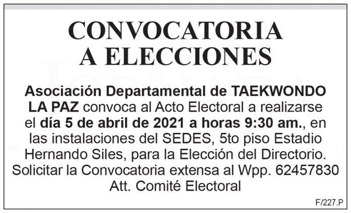 Asociación Departamental de Taekwondo La Paz - Convocatoria a elecciones