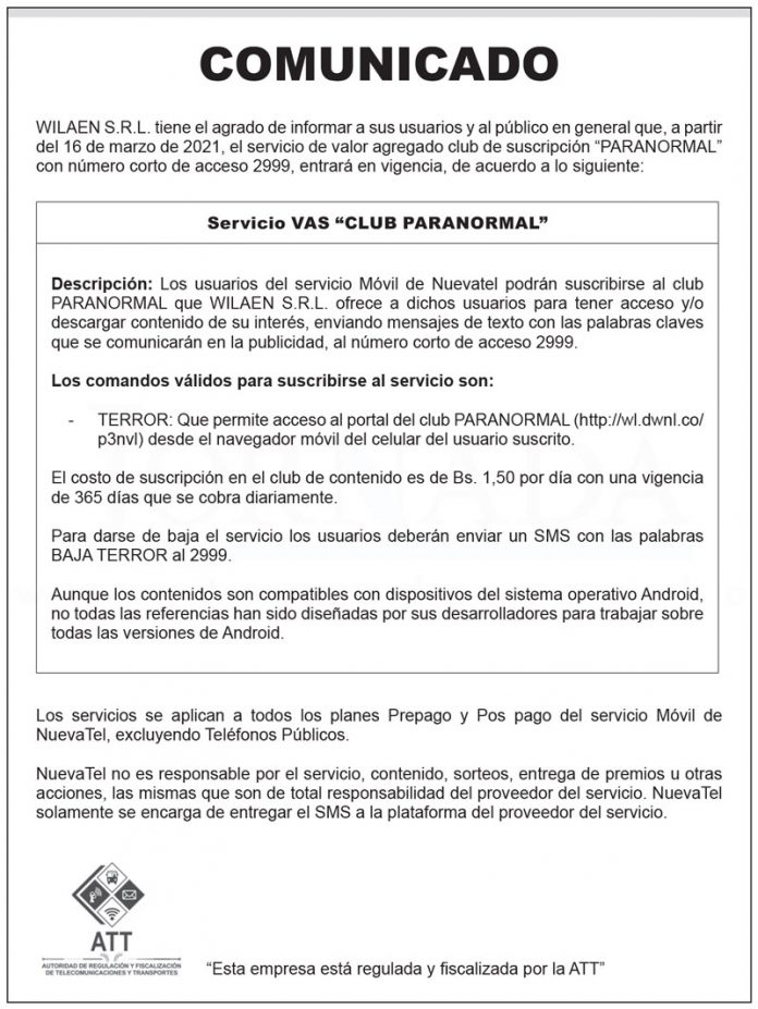 Comunicado WILAEN S.R.L. - Servicio VAS