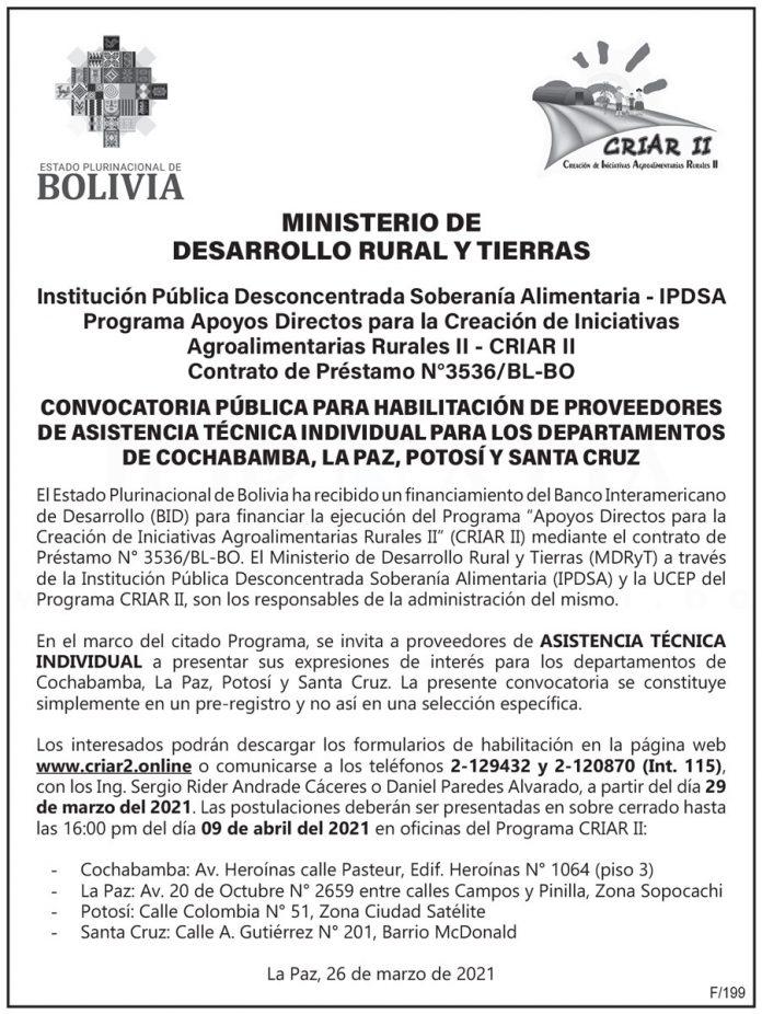 Ministerio de Desarrollo Rural y Tierras - Convocatoria Pública