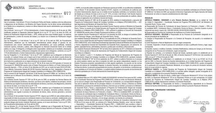 Ministerio de Desarrollo Rural y Tierras - Resolución Ministerial Nº 077