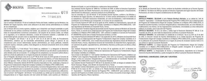 Ministerio de Desarrollo Rural y Tierras - Resolución Ministerial Nº 078