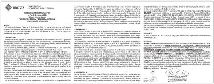 Viceministerio de Coca y Desarrollo Integral - Resolución Administrativa Nº 172