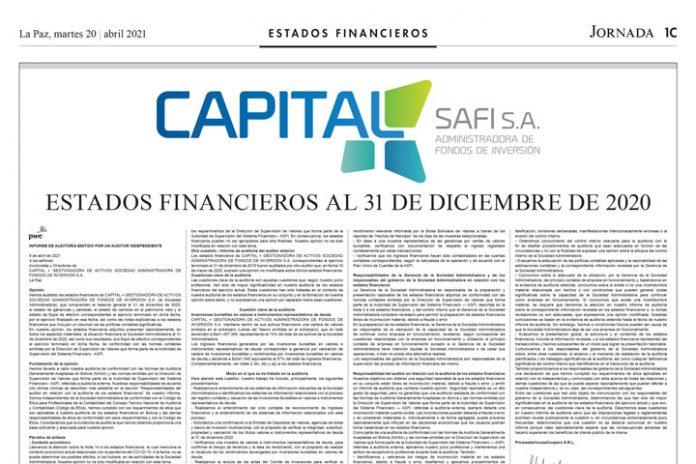 Capital + SAFI – Estados Financieros al 31 de diciembre de 2020