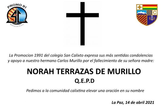 Fallecimiento - Norah Terrazas de Murillo
