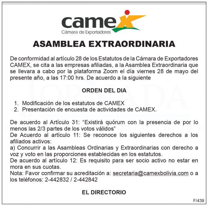 CAMEX - Asamblea Extraordinaria